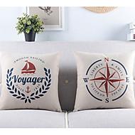 Set of 2 Voyager Theme Cotton/Linen Decorative Pillow Cover