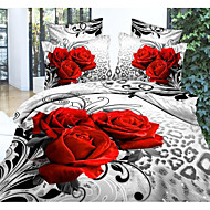 Shuian® Duvet Cover Set, 4 Piece Suit Comfort Simple Modern Ventilation Printed 3D Pattern Full