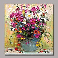 Hand Painted Modern  Flower Oil Painting by Knife with Stretched Frame Ready to Hang