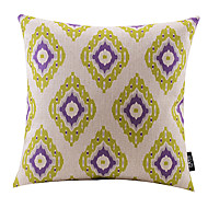violet et vert en coton losange / lin taie d'oreiller décoratif