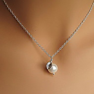 Shixin® Classic Pearl Leaf Shape Silver Pendant Necklace(1 Pc)