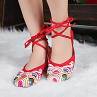 Women's Spring / Summer / Fall Ankle Strap / Ballerina Canvas Casual Flat Heel Ribbon Tie Black / Red