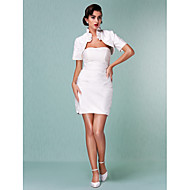 Lanting Sheath/Column Plus Sizes Wedding Dress - Ivory Short/Mini Strapless Satin