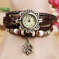Coway Clover Women's Round Dial Leather Band Strap Watch Quartz Analog  Braceiet Watch(Assorted Color) Cool Watches Unique Watches Fashion Watch