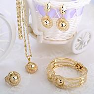 סט סגנון אופנה איטלקי שרשרת זהב ארבע פיסת תכשיטים כוללים צמידים, עגילים, המפלגה היא לקשור ב