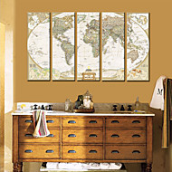 Canvastaulu Art World Map Set of 5