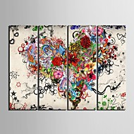 Canvas Set Abstract Bloemenmotief/Botanisch Klassiek Modern,Vier panelen Verticaal Print Art Muurdecoratie For Huisdecoratie