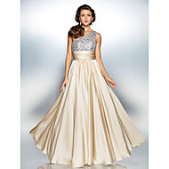 TS Couture® Prom / Military Ball / Formal Evening Dress - Champagne Plus Sizes / Petite Sheath/Column One Shoulder Floor-length Satin Chiffon