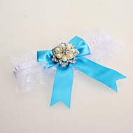 Lace&Satin Wedding Garter With Blue Bow& Pearls