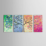 IARTS®Oil Painting Floral Spring Summer Autumn Winter   with Stretched Frame Set of 4 Hand-Painted Canvas
