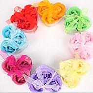 cadeaux de vacances 3 fleurs de savon rose en forme de coeur romantiques (couleur aléatoire)