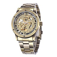 SHENHUA® Men's Bronze Skeleton Dial Steel Band Automatic Self Wind Wrist Watch Cool Watch Unique Watch
