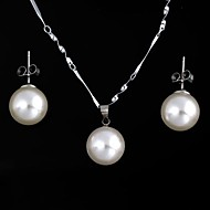 Classic Women's Round-Shaped Pearl Necklace+Earrings Sets White (1Set)