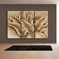 Stretched Canvas Art Gold Leaf Decoration Painting  Set of 3