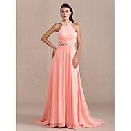 Prom / Formal Evening / Military Ball Dress - Plus Size / Petite Sheath/Column Halter Court Train Chiffon