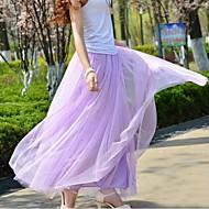 Women's Gauze Casual High Waist Fluffy Tutu Maxi Skirt