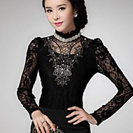 Women's Lace Black Blouse , Vintage Stand Long Sleeve Lace/Beaded