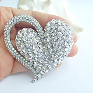 Women's Trendy Alloy Silver-tone Rhinestone Crystal Heart Wedding Bridal Brooch Pin