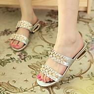 Women's Spring / Summer / Fall Slide Leatherette Dress Chunky Heel Silver / Gold
