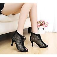 Customizable Women's Dance Shoes Modern Lace Stiletto Heel Black/Blue