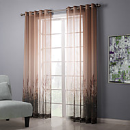(Two Panels) Champagne Flowers Sheer Curtain