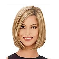 金髪のかつらを持つ女性の絶妙な中位の長さストレート茶色