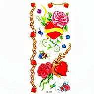 rosa impermeable y corazón etiqueta engomada del tatuaje del molde muestra de tatuajes temporales de arte corporal (18.5cm * 8.5cm)