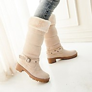 Women's Shoes Round Toe Chunky Heel Mid-Calf Boots with Buckle More Colors available