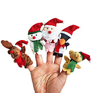 5pcs kerst dier pluche vingerpoppetjes kinderen praten prop
