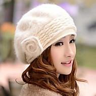Женская вязаная шапка с мехом кролика