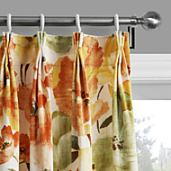 Philips Young - (Two Panels) Contemporary Warm Colors Blossoms Curtain