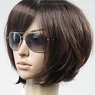 perucas vogue marrom retas curtas sintéticas da mulher