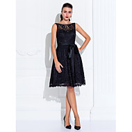 Cocktail Party / Homecoming / Wedding Party Dress - Short Plus Size / Petite A-line Jewel Knee-length Lace with Lace / Sash / Ribbon