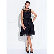 Cocktail / Rimpatriata di classe / Ricevimento di matrimonio Vestito - Corto Linea-A Con decorazione gioiello Al ginocchio Di pizzo conDi