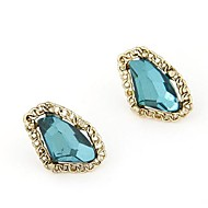 Fashion Metal Gemstone Temperament Geometric Squares Earrings(More Colors)