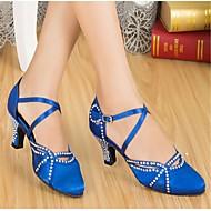 Chaussures de danse (Noir/Bleu) - Personnalisable - Talons personnalisés - Satin - Moderne