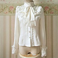 retro stil stativ krage langermet hvit chiffon classic lolita bluse