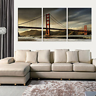 Op gespannen doek kunst Architectuur Golden Gate Bridge Set van 3