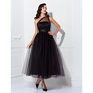 TS Couture® Prom / Formal Evening / Wedding Party Dress - Black Plus Sizes / Petite A-line / Princess One Shoulder Ankle-length Tulle