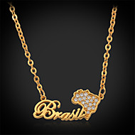 U7®Cool Brazil Map Pendant Necklace 18K Real Chunky Gold Platinum Plated Jewelry Gift for Women