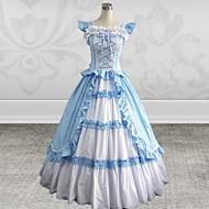 Sleeveless Floor-length Sky blue Cotton Silk Gothic Lolita Dress