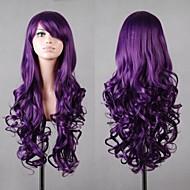 nuevos cosplay púrpura pelucas del anime del pelo de la mujer de largo pelo rizado oscuro