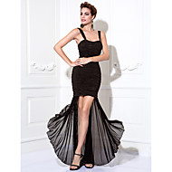 TS Couture® Cocktail Party / Prom Dress - Black Plus Sizes / Petite Sheath/Column Straps Tea-length Chiffon / Stretch Satin
