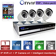 Sinocam® 4CH NVR and 720P P2P IP Camera Security System Kit Support Video Push