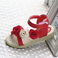 ( Rød ) Hæler - Sandaler - Imitert Lær - GIRL