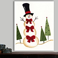 Christmas Decoration Stretched Canvas Print Art Cartoon Snowman with Three Red Bows by Beverly Johnston