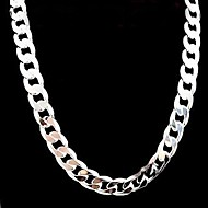 12mm 22 Inch No Empty Men's Silver Plated Necklace
