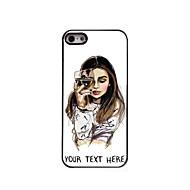 персонализированные телефон случае - девушка с бокал дизайн металлического корпуса для iPhone 5 / 5s