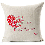 Red Fish And Heart Pattern Cotton/Linen Decorative Pillow Cover