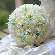 """פרחי חתונה עגול ורדים זרים חתונה משי 9.84""""(לערך.25ס""""מ)"""